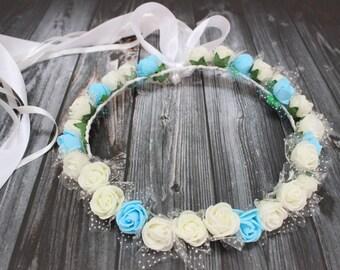 Blue White Buttercup flower crown, Flower girl crown, Flower Headband, Halo, Bridal Floral Crown Flower, Boho Flower Crown
