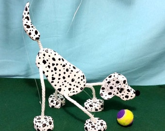 Dalmatian Puppy Dog Marionette - Wooden Puppet Pet
