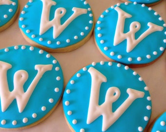 Round Monogrammed Decorated Sugar Cookies (# or letter)