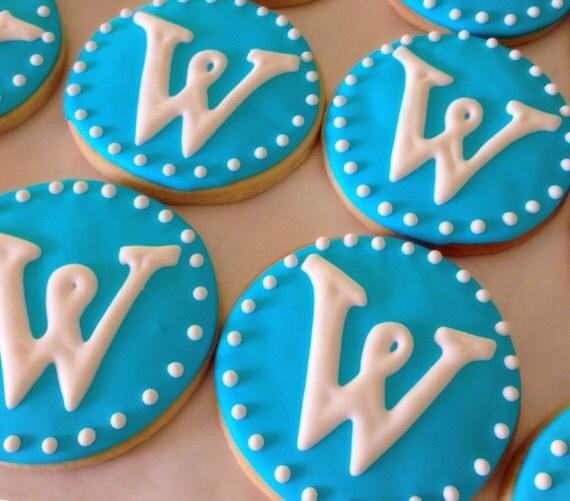 Round Monogrammed Deco... Round Birthday Sugar Cookies