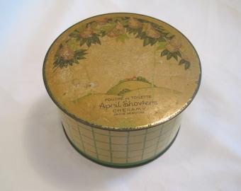 Antique 30's April Showers Powder Tin By Cheramy Paris New York-Poudre De Toilette April Showers Collectible Tin-Art Deco Powder Trinket Box