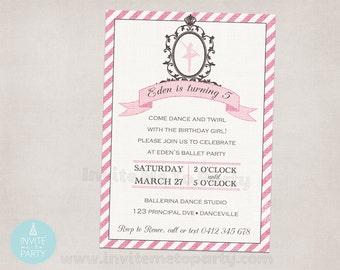 Vintage Ballerina Party Invitation PRINTABLE