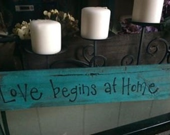 Cute signs for the home, Love begins at home aqua sign home decor