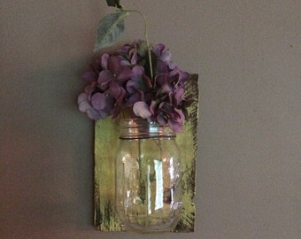 wall sconce, Mason jar wall hanging/flower holder/votive holder, home decor