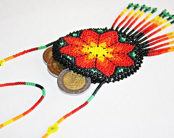 Huichol Medallion Necklace - Beaded Necklace - Medicine Pouch - Coin Purse - Ethnic Boho Necklace - Mexican Necklace - Native American