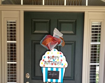 Cupcake Burlap Door Hanger - Happy Birthday Burlap Door Hanger