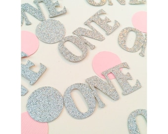 Silver and Pink Birthday confetti, age confetti, glitter number confetti, 1st birthday party decorations, 1st birthday, custom confetti
