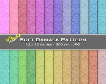 Soft Damask Pattern - Digital Scrapbook Papers - 24 sheets, 12x12, CU OK - Instant Download