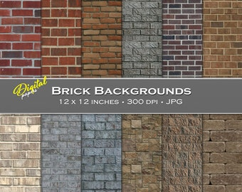 Brick Wall Backgrounds - Digital Scrapbook Papers - 12 sheets, 12x12, CU OK - Instant Download