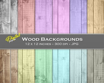 Colored Wood Board Backgrounds - Digital Scrapbook Papers - 12 sheets, 12x12, CU OK - Instant Download