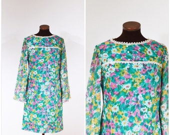Vintage 60s Green Pink Yellow Floral Dress S/M