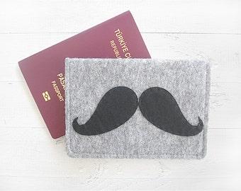 VALENTINE'S DAY GIFT, Passport Case, Passport Sleeve, Passport Cover, Travel, Flight, Mustache, Special Gift, Gift For Her, Gift For Him