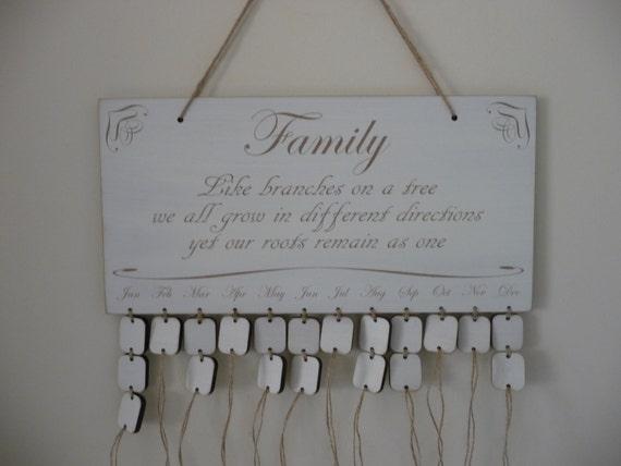 Family Birthday Board Wooden Family Birthday Calendar
