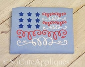 Embroidery design 5x7 USA Flag 4th of July 5X7, red white & blue, american, Independence Day, socuteappliques, flag embroidery, patriotic