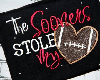 Embroidery design 5x7 The Sooners stole my heart Oklahoma football Embroidery saying, socuteppliques, football embroidery, oklahoma