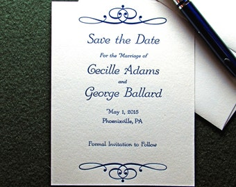 20 Letterpress Save the Date, Personalized Announcement Series