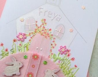 Over the wooden rainbow hand painted christening card Custom hand painted christening card Church Christening card handmade greeting card