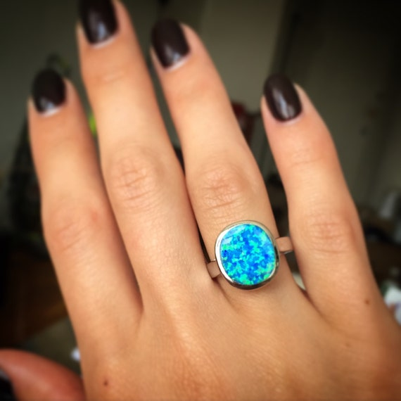 Items Similar To Opal Ring Exquisite Braided Opal: Items Similar To Sterling Silver Ring With Blue Lab Opal