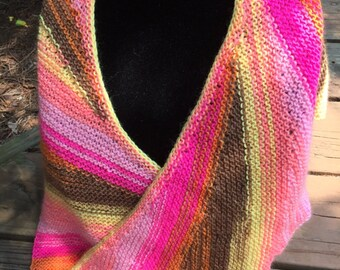 Ready to ship!!!   Hand knitted bright, unique   shawl/scarf perfect for weddings, graduations, gift
