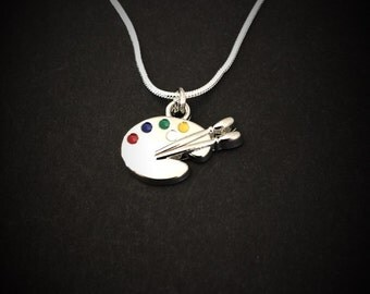 Art charm necklace, artist charm, silver art charm, art lover charm, art charm