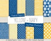 Yellow and Navy Digital Paper - YELLOW AND BLUE Paper Pack Scrapbook Paper Backgrounds Instant Download Commercial Use ok Cu4Cu (75)