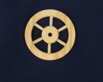 Handcrafted unfinished pine wood 3 inch six spoked wheel Part No 1401-A