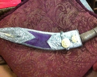 Vintage Nepalese Ceremonial Kukri Knife with Tooled Silver and Gold Decorated Scabbard