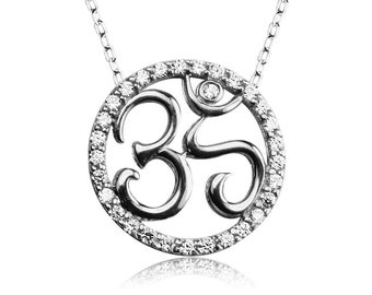 om necklace in sterling silver and sparkling zirconia  the perfect gift for the Yogini in you