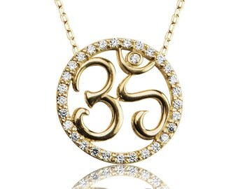 om necklace in gold plated sterling silver and cubic zirconia A great meaningful gift for everyone.