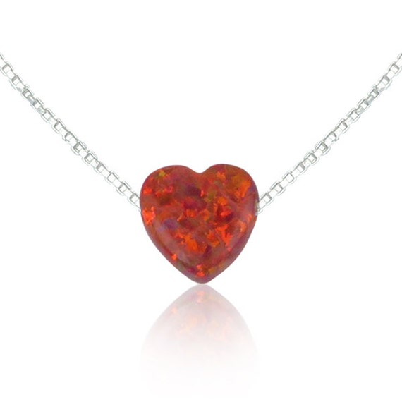 red opal heart necklace
