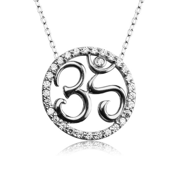 om necklace sterling silver zirconia ON SALE NOW