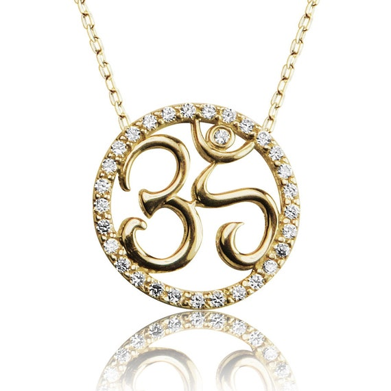om necklace gold plated sterling silver and cubic zirconia A great meaningful gift for everyone ON SALE NOW