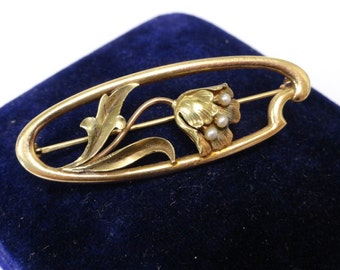 Antique Vintage Victorian 10k Yellow Gold Poppy Flower Seed Pearl Brooch Pin