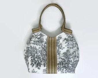 Romantic tote bag, large handbag, romantic French print. Black and white tote, trendy tote bag, burlap trim, jdiaper bag, carry all bag
