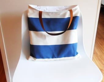 bag Tote Bag blue and white stripes, leather straps, beach bag, sportsbag