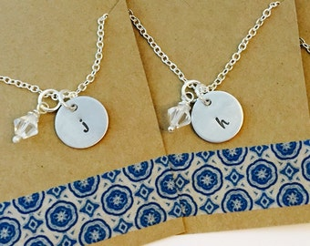 Set of 2 Hand Stamped Initial Name Necklaces with Swarorski Crystal