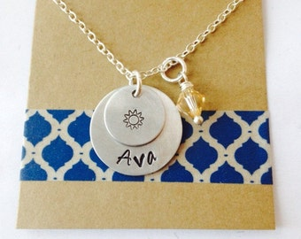 Sunshine Necklace, Hand Stamped Name Necklace, Little Sunshine Necklace, Girls Necklace