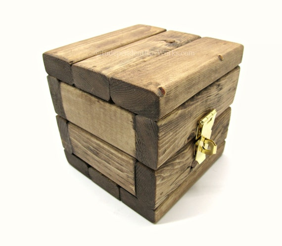 Rustic small wooden storage box handmade by - Small rustic wooden boxes ...