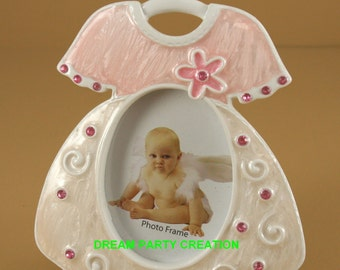 Enamel Poly stone PINK GIRL DRESS Picture frame with Acrylic Rhinestone