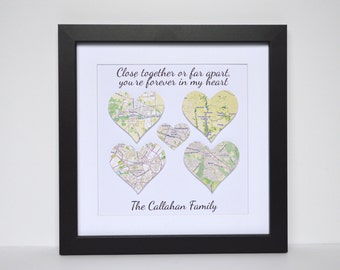 Mother's Day Map Decor- Distance Means so Little When Family Means So Much, Long Distance Family Mothers Day Gift, Framed Heart Map Art