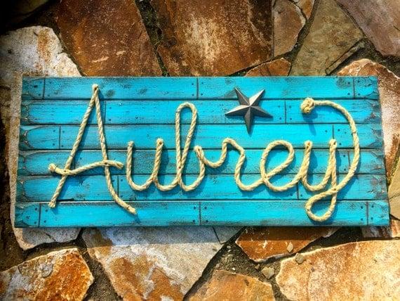 Aubrey: 36 Western Rope Name Sign Cowboy Theme Room