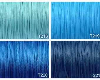 0.7mm waxed polyester cord, 10 meters, diameter 0.7mm, aqua, blue sky, dk blue, prussian blue