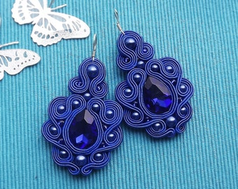 Mega Shappire with Crystall Soutache Earrings