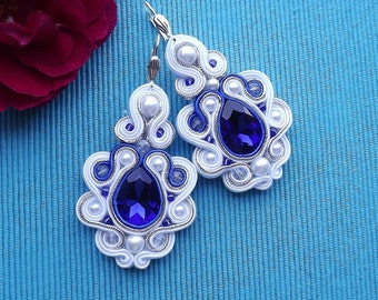 Mega White & MORE Sapphire with crystals - Soutache earrings