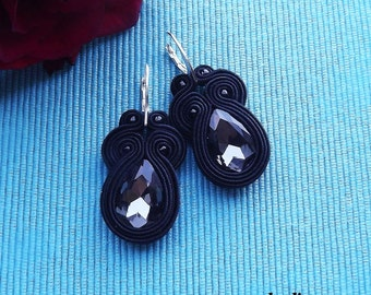 Short Black  soutache  earrings