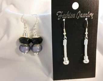 Pair of sterling silver fishhook earrings with chain - Add charm beads - Customize