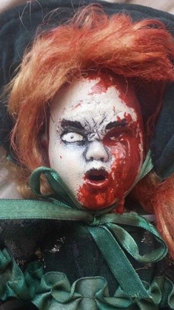 Zombie ooak undead gruesome bloody gory horror art doll scary