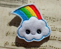 Cute happy kawaii rainbow cloud embroidery design pattern (in the hoop) file instant digital download fruit make for clip or hairband