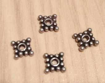 4 argent Sterling Dazys, entretoise mat finition Antique-Bali fait main-Multi usage-perle conclusion entretoises-argent perle-bijouterie NJB1180
