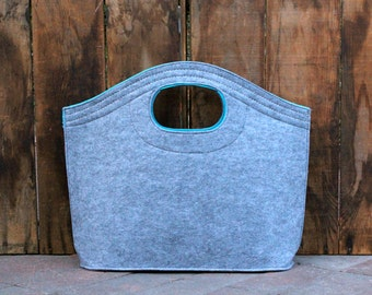 Monogrammed Felt Tote Bag  -  Grey and Turquoise Tote